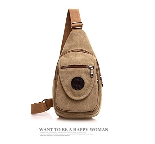 on foot Messenger Cover color Chest bag Ride travel khaki Bags Shoulder climbing backpack canvas Solid pack rock Soft BS4RRq