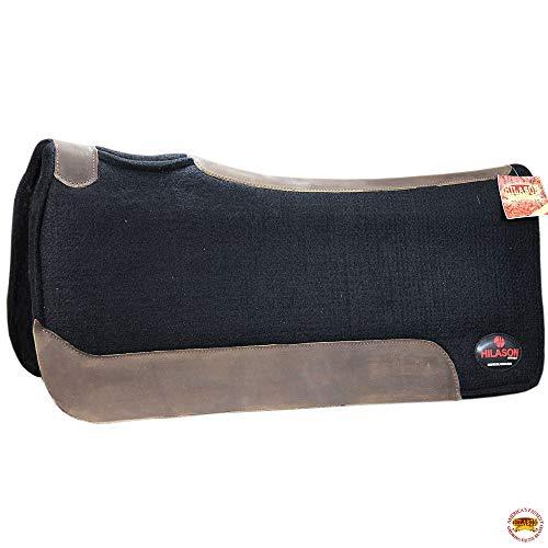 HILASON Western Wool Felt Gel Horse Saddle Pad W/Leather Border- Black from HILASON