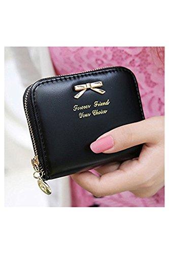 TOOGOO(R) Suite PU mini borsa della borsa donne con la chiusura lampo (nero)