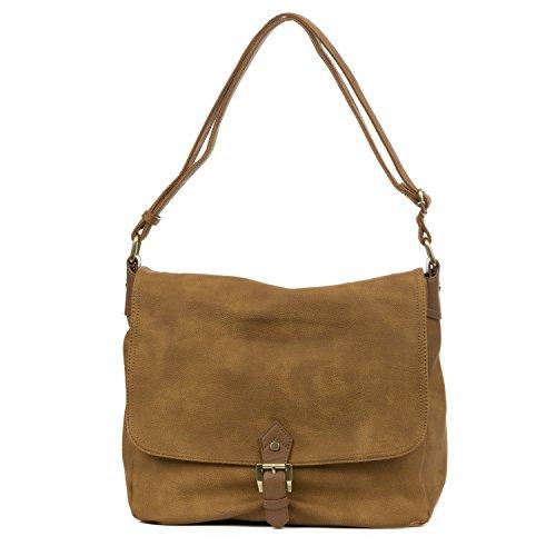 Handbag Republic Womens PU Leather Messenger Bag Style Travel Crossbody (Tan Messenger Style Handbag)