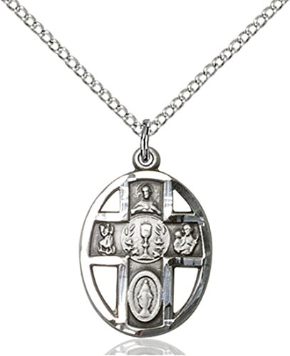 Sterling Silver First Communion 5-Way Chalice Pierced Rou...