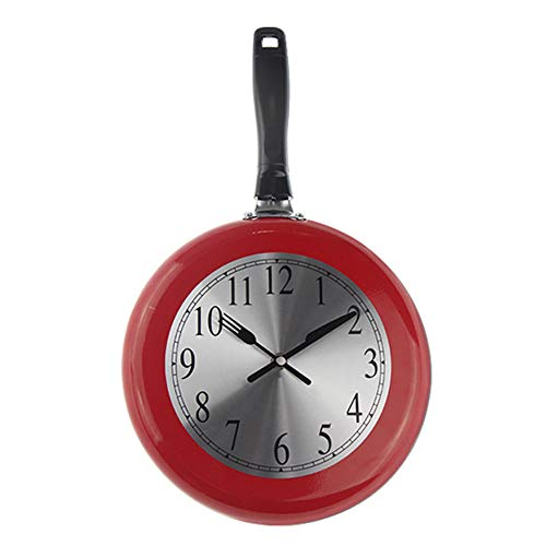 Wall Clock Kitchen Metal Frying Pan Design 8'' 10'' 12'' Clocks Kitchen Decoration Novelty Art Watch,10''Red -