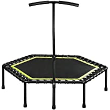 Gharpbik Ultra Quiet Fitness Mini Trampoline with Adjustable Handle,Safe Elastic Band Rebounder– Indoor Rebounder/Home Workout Cardio Training for Adults