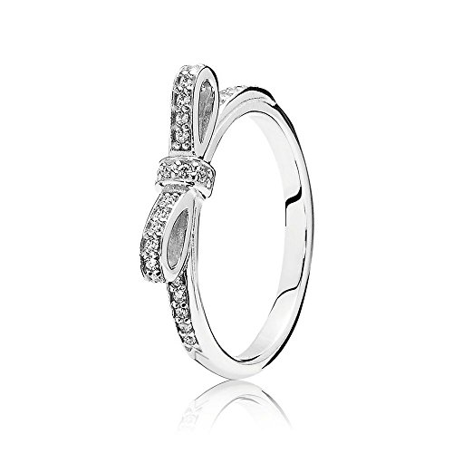 NEW Pandora Sterling Silver 925 European Charm Sparkling Bow Clear CZ Ring 56 (Pandora Bow Charm)