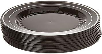 Platos de plástico duro y pesados elegantes, color negro con diseño de plata, 18