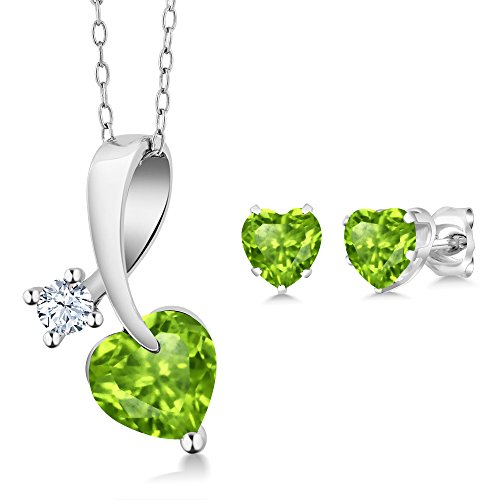 (Gem Stone King 2.31 Ct Heart Shape Green Peridot 925 Sterling Silver Pendant Earrings Set with 18 Inch Silver)