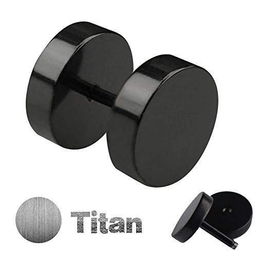 ug/Ear Stud - Black | Gauge/Thickness: 1,2mm (16 Gauge) | 4 Sizes: 4mm 6mm 8mm or 10mm - Earring for Men & Women - Fake Cheater Plug - Fake Flesh Plug for SCREWING Fake Tunnel ()