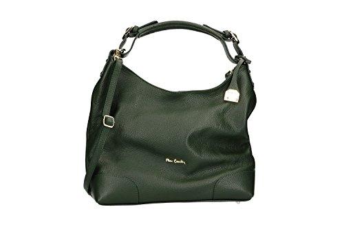 Bolsa mujer correa una manilla PIERRE CARDIN verde en cuero Made in Italy VN2627