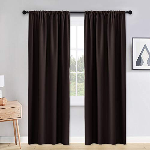 PONY DANCE Living Room Curtains - 42 x 90 inches Brown Home Decoration Room Darkening Thermal Insulated Blackout Window Treatments/Draperies Block Light Protect Privacy, 2 Pieces (Curtains Dark Brown)