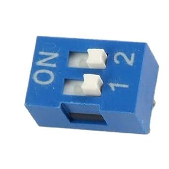 DealMux 2,54 milímetros Afastamento 2 posição de deslizamento Tipo DIP Blue 10 Pcs