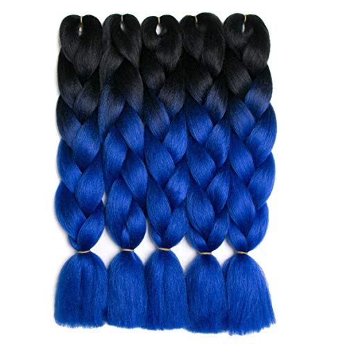Jumbo Braiding Hair 5pcs(black/blue) Synthetic Ombre Hair Kanekalon Braiding High Temperature Fiber Crochet Twist Braids (5pcs, T1b/blue) ()