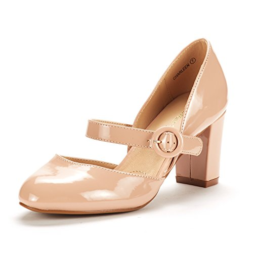 DREAM PAIRS Women's Charleen Nude Pat Classic Fashion Closed Toe High Heel Dress Pumps Shoes Size 8.5 M US