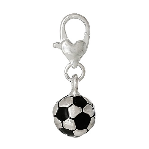 SEXY SPARKLES Soccer Ball Charm Bead Clip On for Bracelet Charm Pendant for European Charm Jewelry with Lobster Clasp