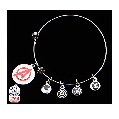 eel Avengers Marvel Comics Red Enamel Logo Charm Expandable Bracelet (Wicked Charm Bracelet)