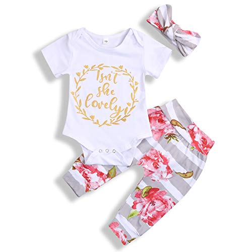 Isnt She Lovely Newborn Infant Baby Girl Outfits Short Sleeve Top Floral Pant Headband 0-18M Clothes Set (6-12 Months, Grey)