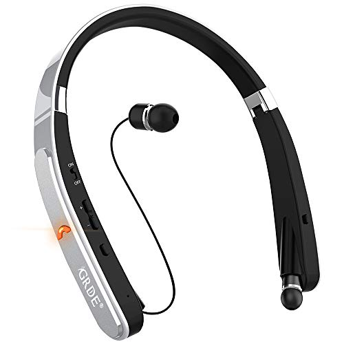 Bluetooth Headset, GRDE Bluetooth Headphones Wireless Stereo Neckband Foldable Sport Earbuds with Mic Retractable Bluetooth Earphones Compatible for X/8/7 Plus Samsung Galaxy S7 S8 S9 (Silver) (Best Bluetooth Headset For Galaxy S7)