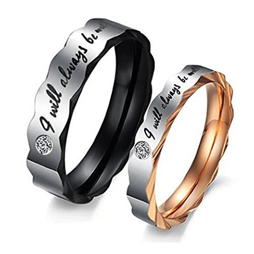 """Psiroy Jewelry Titanium Steel Love """"I Will Always Be with You"""" Couples Promise Ring Wedding Bands"""