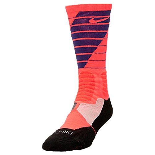 8e7974218 Men's Nike Hyper Elite Power Up Basketball Crew Socks (X-Large, Bright  Crimson/Court Purple)