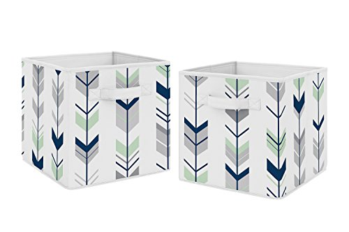 Navy Blue and Mint Woodland Mod Arrow Foldable Fabric Storage Cube Bins Boxes Organizer Toys Kids Baby Childrens for Collection by Sweet Jojo Designs - Set of 2 from Sweet Jojo Designs
