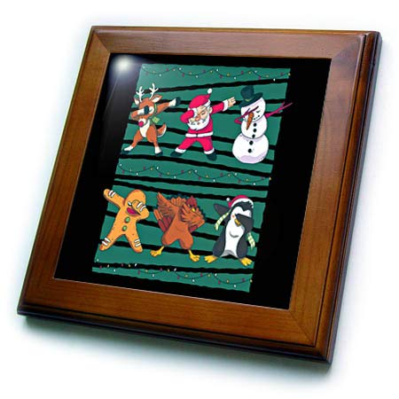 (3dRose Sven Herkenrath Christmas - Dabbing Dab Merry Christmas with Deer Santa Claus Snowmen - 8x8 Framed Tile (ft_316731_1))