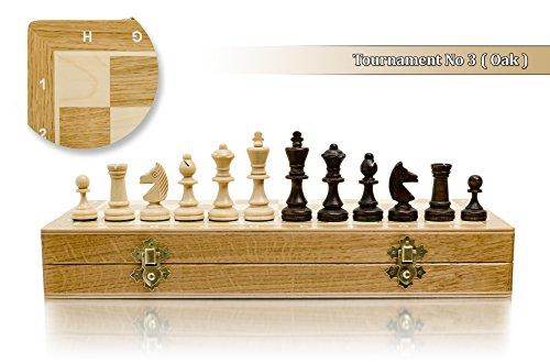 """Superbe tournoi No.3 marqueté chêne/sycomore d'échecs en bois professionnel Set 35 x 35cm / 14"""""""