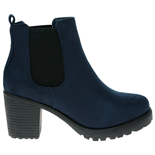 Navy Heel Block Fashion Feet Suede Womens Faux Chelsea Ankle Blue Boots Mid First Marcella 5wvqqFHXY