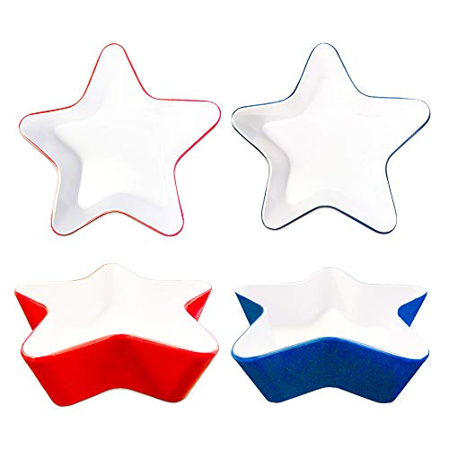 4th of July Dishes Bowls for Candy Dip Decorations -- Pack of 4 Patriotic Red White and Blue Star Shaped Bowls, 5.5