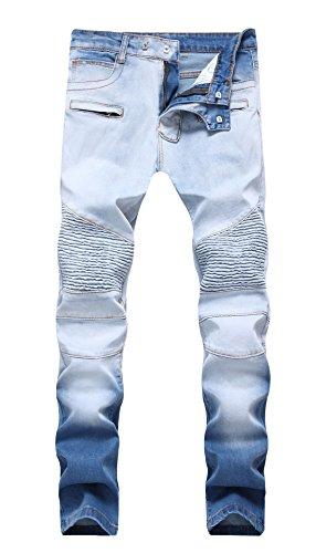 Ribbed Denim (MEIKESEN Men's Blue Junior Biker Moto Vintage Skinny Cotton Jeans Slim Fit Stretch Denim Pants 32)