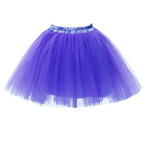 [PerfectDay Women's Mini Tutu Ballet Multi-layer Ruffle Frilly Petticoat Skirt Purple] (Fat Lady Halloween Costumes)