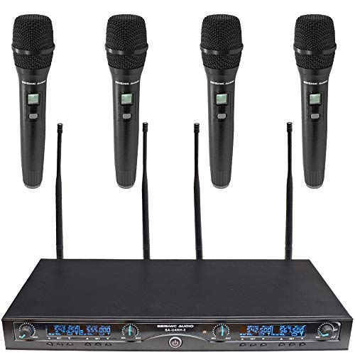 Seismic Audio - SA-U4HH4-2 - 4 Channel Professional UHF Wireless Microphone System with 4 Handheld Microphones, Adjustable Frequencies PA DJ Wireless Mics