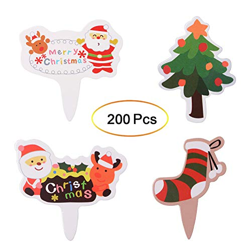 Qibote 200 Pieces Christmas Cupcake Toppers Picks Cake Toppers for Christmas Party Cupcake Decoration Supplies