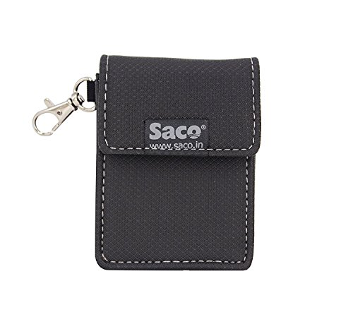 Saco Pouch for Apple AirPods Wireless Headset Earphone case Shock Proof Protection Sleeve Skin Carrying Bag with Keychain Clip – Black