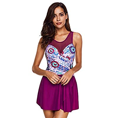 RAINED-Women's Plus Size Swimdress Printing Padded High Waist Swimwear Floral Halter Swimsuit One Piece Swimsuit