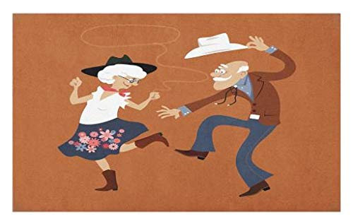Lunarable Country Doormat, Senior Old Couple with Western Costumes Dancing Partying Square Dance Contradance, Decorative Polyester Floor Mat with Non-Skid Backing, 30 W X 18 L Inches, Multicolor]()