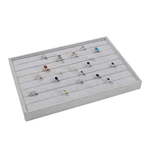 Autoark Ice Velvet Stackable 7 Slots Jewelry Rings Earrings Tray Showcase Display Organizer,AJ-073 ()