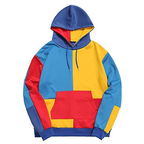 Multi Color Pullover - ZAFUL Casual Unisex Hoodie Long Sleeve Color Block Pullover Drawstring Pocket Sweatshirt (M, Multicolor Block)