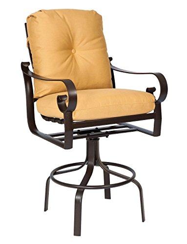 Bar Stool Cushion Canvas (Woodard  Belden Cushion Swivel Bar Stool, Espresso, Canvas Navy)