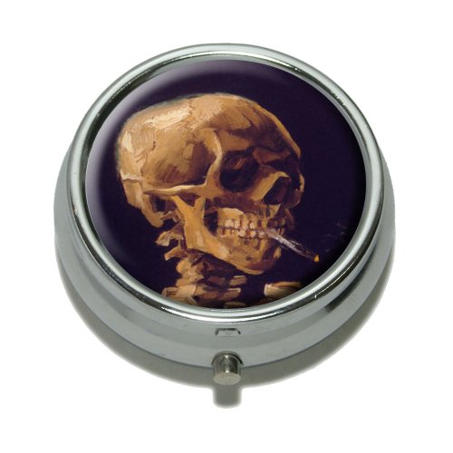 Skull with a Burning Cigarette by Van Gogh Pill Case Trinket Gift Box by Graphics and More