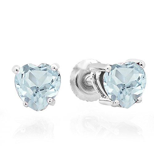 Heart Shape Aquamarine Earrings - 4