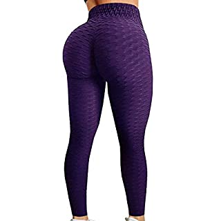 HURMES Women's High Waist Ruched Butt Lifting Booty Scrunch Anti Cellulite Workout Leggings Tummy Control Push Up Honeycomb Textured Tights Purple