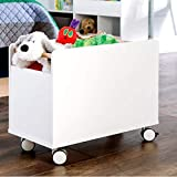 Commercial Cubbies Toy Organizer for Storage, Contemporary Kids White Piece Toy Organizer for Boys and Girls with Wheels & E-Book