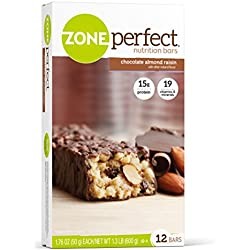 ZonePerfect Nutrition Snack Bars, Chocolate Almond Raisin. 1.76 oz, (12 Count)
