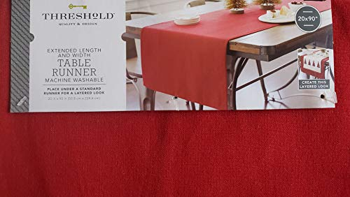 """TARGET Threshold Red Shimmer Metallic Table Runner 20""""x 90"""" Inch Extended Length and Width Front 98% Cotton 2% Other fibers Back 100% Cotton Machine Washable"""