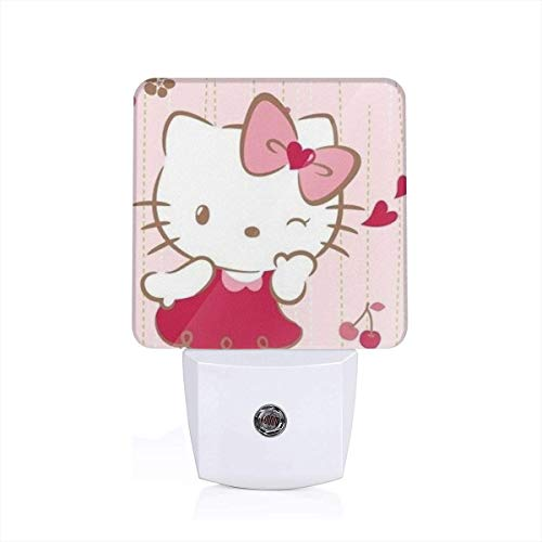Meirdre Plug in Night Light - Smile Hello Kitty Warm White LED Nightlight with Automatic Dusk-to-Dawn Sensor