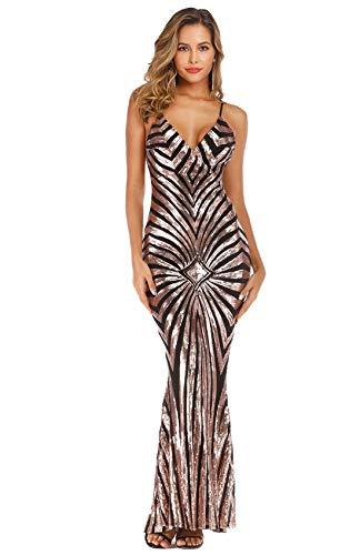 (WERIDEDIRT Sequin V Neck Fringe Backless Spaghetti Strap Party Dress for Women (Black_GD_2, M))