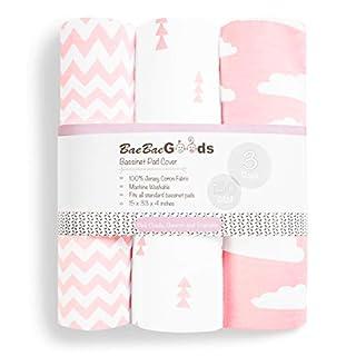 Bassinet Bed Sheets – Bassinet Fitted Sheets 3 Pack – 100% Jersey Knit Cotton Cradle Sheets – Bassinet Bedding for Standard Size Oval or Rectangular Bassinet Pads – Bassinet Sheet for Girl