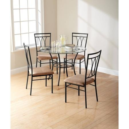Amazon.com: Mainstays 5-Piece Glass and Metal Dining Set: Kitchen ...
