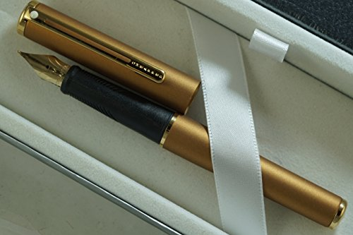Made in The USA Cross Sheaffer Compact 9005 Bronze with 22KT Gold Trim and Medium NIB, Sleek Fountain Pen and Sheaffer Journal Set