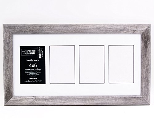 Creative Letter Art [10x20 4 Opening Glass Face Driftwood Like Picture Frame to hold 4 by 6 Photographs including 10 by 20 inch White Mat Collage