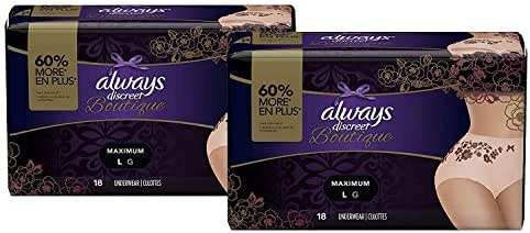 Always Discreet Boutique, Incontinence & Postpartum Underwear for Women, Disposable, Maximum Protection, Peach, Large, 18 Count- Pack of 2 (36 Count Total)